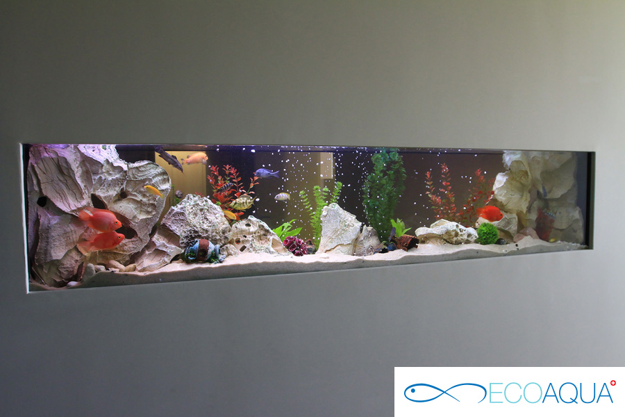 Installed aquarium in a shopping mall
